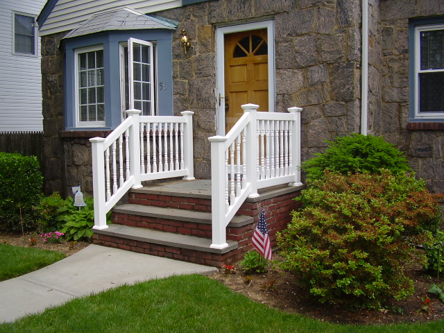 PVC Railings U0026 Handrails, Double Virgin Vinyl Exterior Rails | Liberty  Fence U0026 Railing