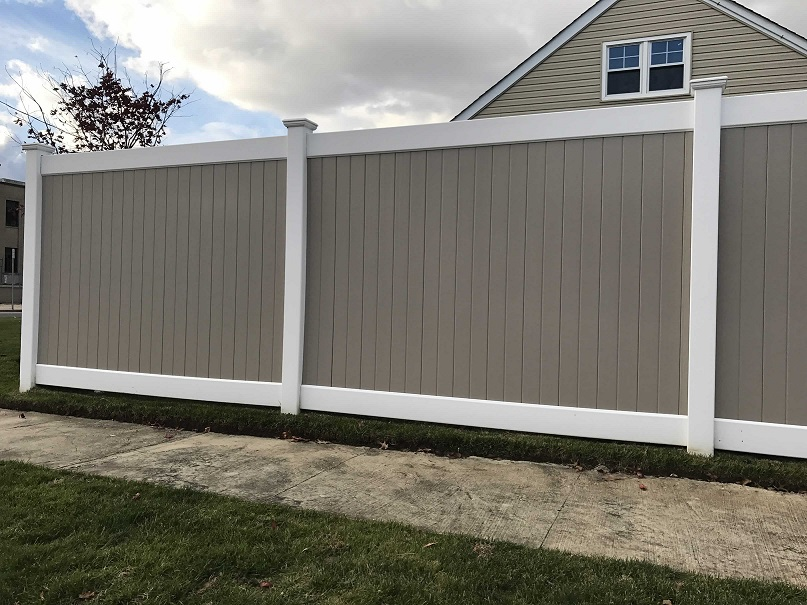 72 Infinity Solid Vinyl Pvc Fence With Khaki Panels And White Frame