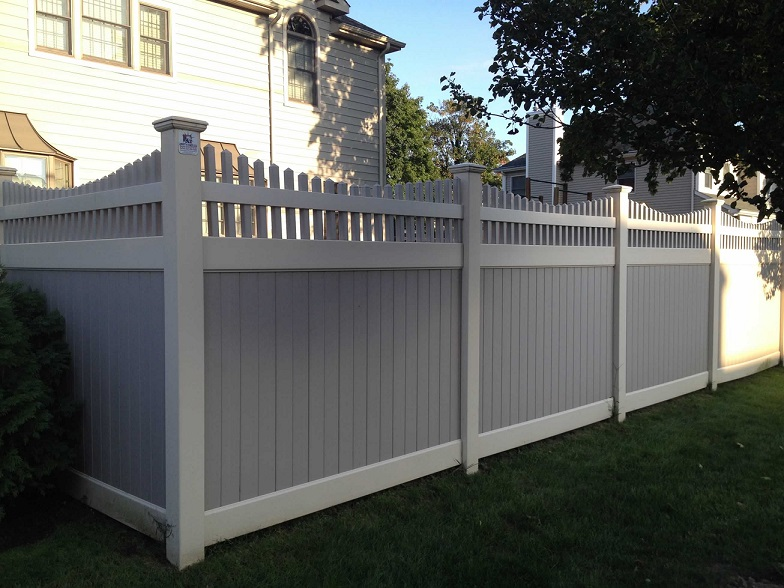 Two tone vinyl privacy fence fences